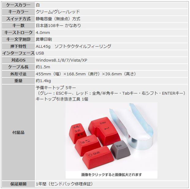 REALFORCE108UW-HiPro仕様表